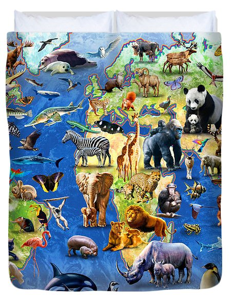 One Hundred Endangered Species Duvet Cover by Adrian Chesterman