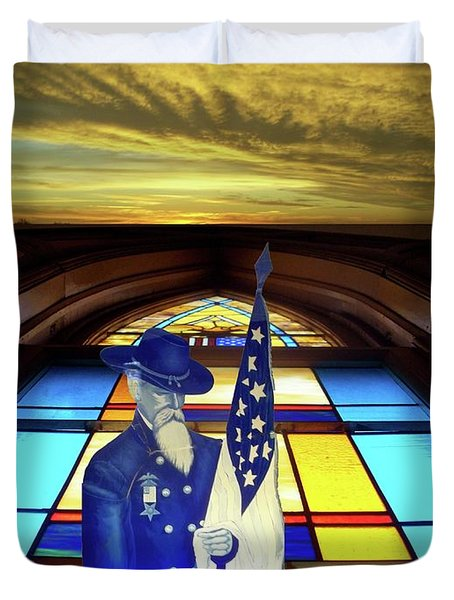 One Last Battle Union Soldier Stained Glass Window Digital Art Duvet Cover by Thomas Woolworth