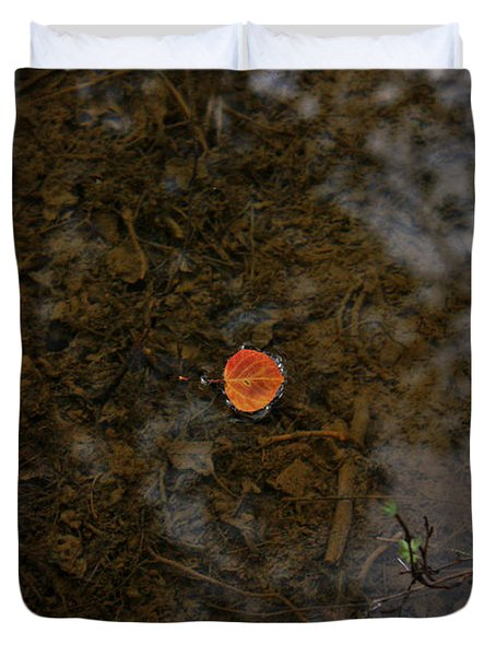 Duvet Cover featuring the photograph One Leaf by Jeremy Rhoades