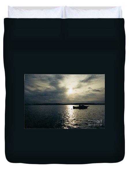 One Lonely Fisherman Duvet Cover by John Telfer