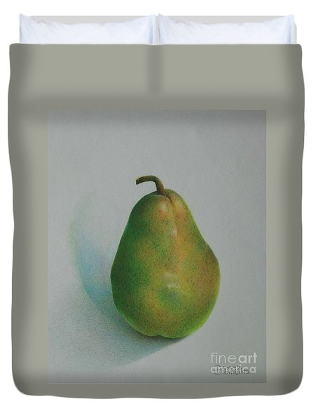 Duvet Cover featuring the painting One Of A Pear by Pamela Clements
