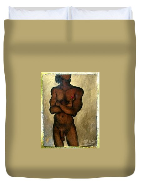 Duvet Cover featuring the painting One Of The Three Wise Men - Male Nude by Carolyn Weltman