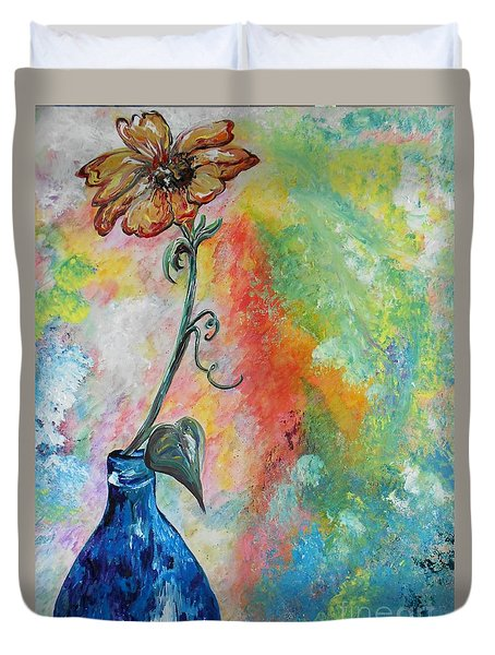 Duvet Cover featuring the painting One Solitary Flower by Eloise Schneider