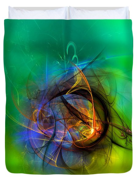 Colorful Digital Abstract Art - One Warm Feeling Duvet Cover