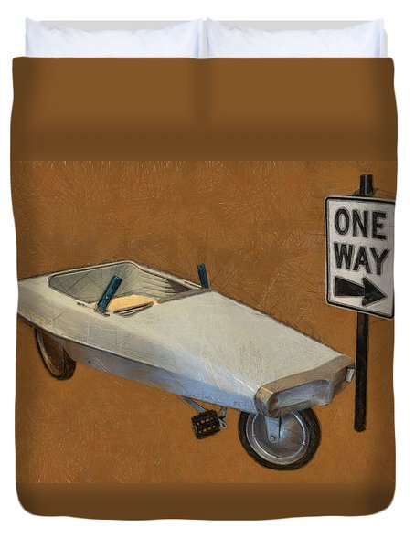 One Way Pedal Car Duvet Cover by Michelle Calkins