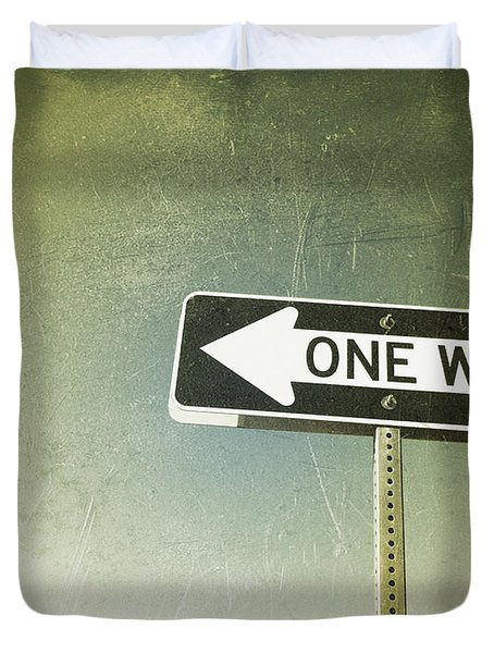 One Way Road Sign Duvet Cover