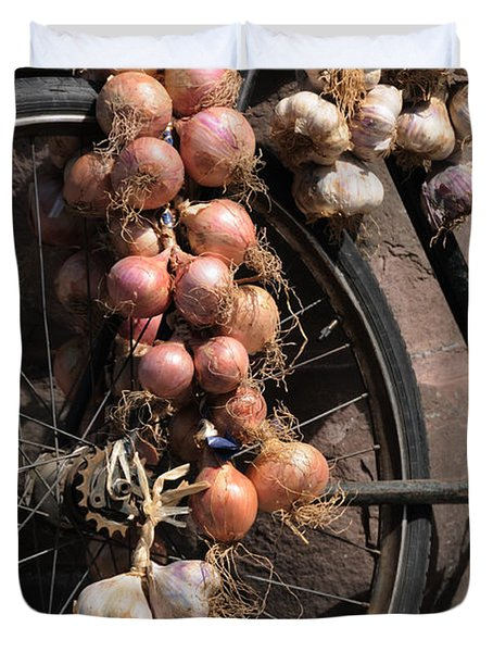 Duvet Cover featuring the photograph Onions And Garlic On Bike  by Jeremy Voisey