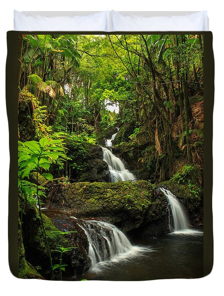 Onomea Falls Duvet Cover by James Eddy