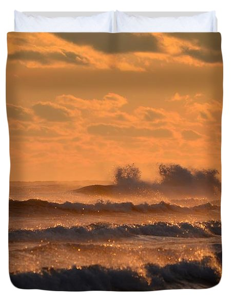 Opal Beach Sunset Colors With Huge Waves Duvet Cover by Jeff at JSJ Photography