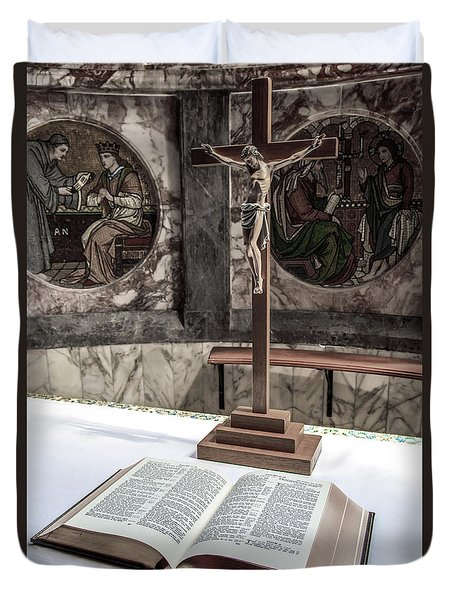 Open Bible And Crucifix Duvet Cover