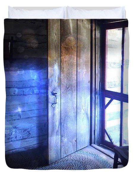 Open Cabin Door With Orbs Duvet Cover by Jill Battaglia