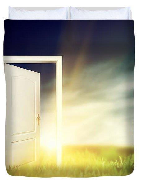 Open Door On The Green Field Duvet Cover by Michal Bednarek