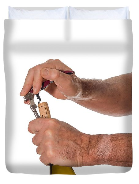 Opening A Bottle Of Wine Duvet Cover