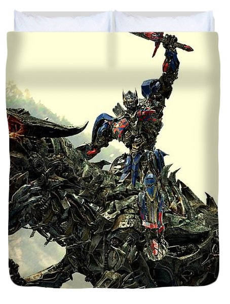 Optimus Prime Riding Grimlock Duvet Cover