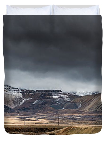 Oquirrh Mountains Winter Storm Panorama 2 - Utah Duvet Cover