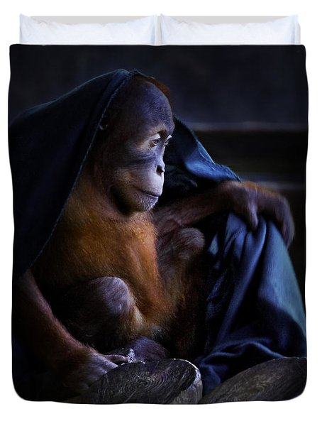 Orang Utan Youngster With Blanket Duvet Cover