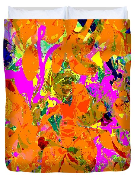 Duvet Cover featuring the digital art Orange Abstract by Barbara Moignard