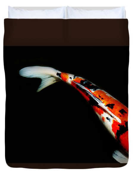 Orange And Black Koi Duvet Cover