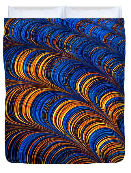 Orange And Blue Abstract Pattern Duvet Cover