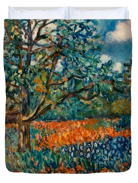 Orange And Blue Flower Field Duvet Cover