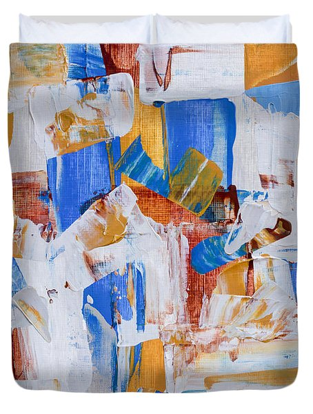 Duvet Cover featuring the painting Orange And Blue by Heidi Smith