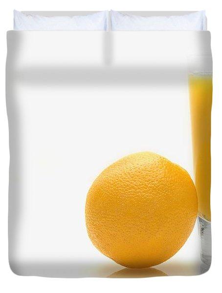 Orange And Orange Juice Duvet Cover by Darren Greenwood