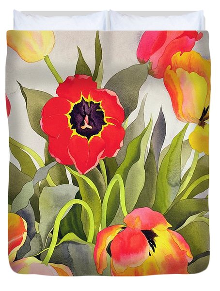 Orange And Red Tulips  Duvet Cover by Christopher Ryland