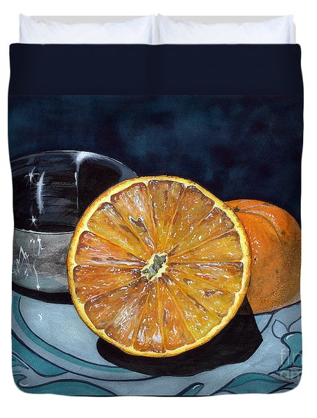 Duvet Cover featuring the painting Orange And Silver by Barbara Jewell
