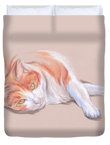 Orange And White Tabby Cat With Gold Eyes Duvet Cover