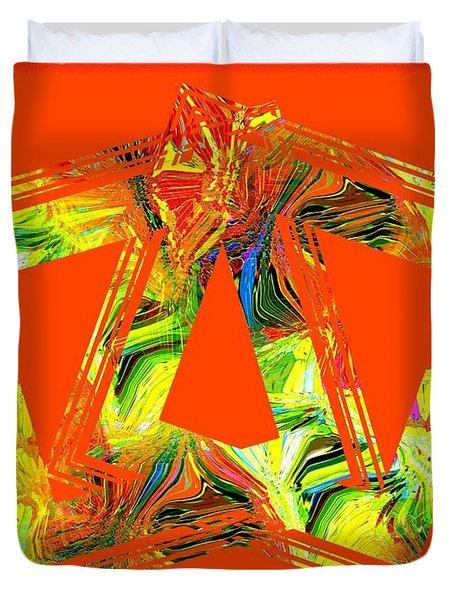 Orange And Yellow Art Duvet Cover by Mario Perez