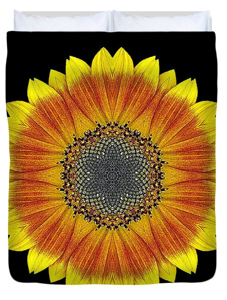 Orange And Yellow Sunflower Flower Mandala Duvet Cover