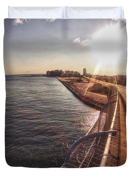 Duvet Cover featuring the digital art Orange Beach From Perdido Bridge by Michael Thomas