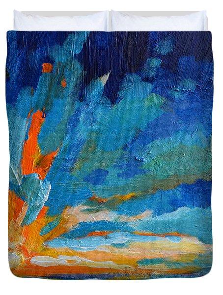 Orange Blue Sunset Landscape Duvet Cover