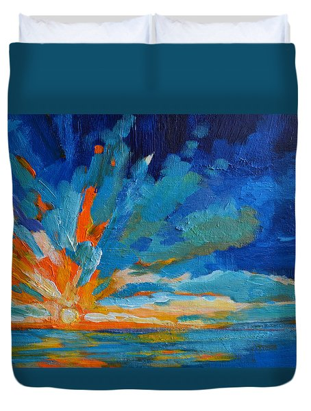 Orange Blue Sunset Landscape Duvet Cover