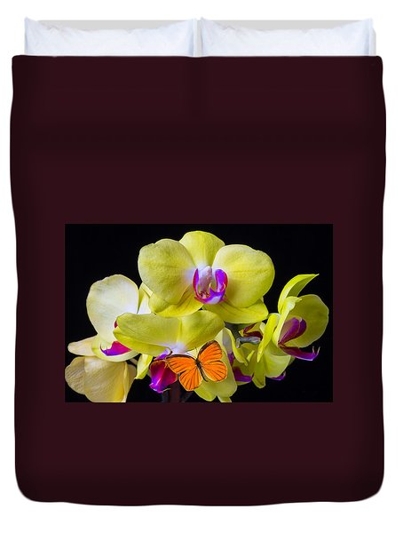 Orange Butterfly And Yellow Orchids Duvet Cover