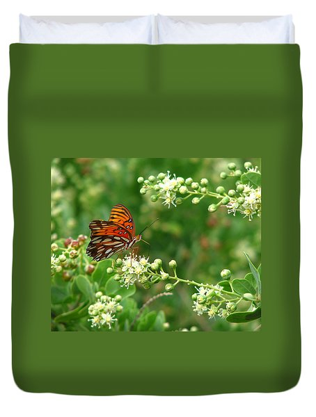 Duvet Cover featuring the photograph Orange Butterfly by Marcia Socolik