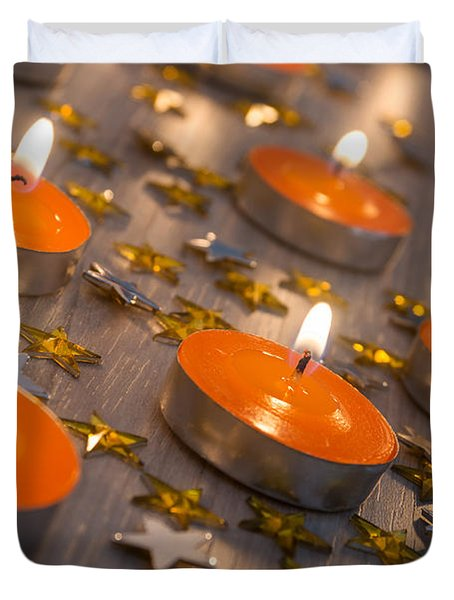 Orange Candles Duvet Cover