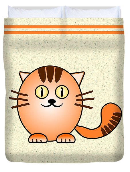 Orange Cat - Animals - Art For Kids Duvet Cover