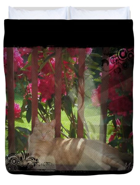 Orange Cat In The Shade Duvet Cover by Absinthe Art By Michelle LeAnn Scott