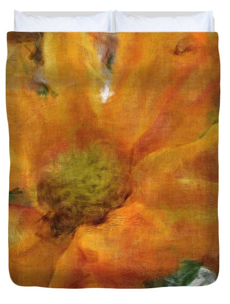 Orange Chrysanthemem Photoart Duvet Cover