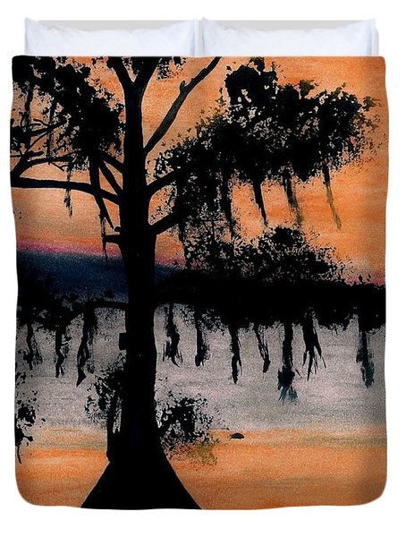 Duvet Cover featuring the drawing Orange Cypress Sunset by D Hackett