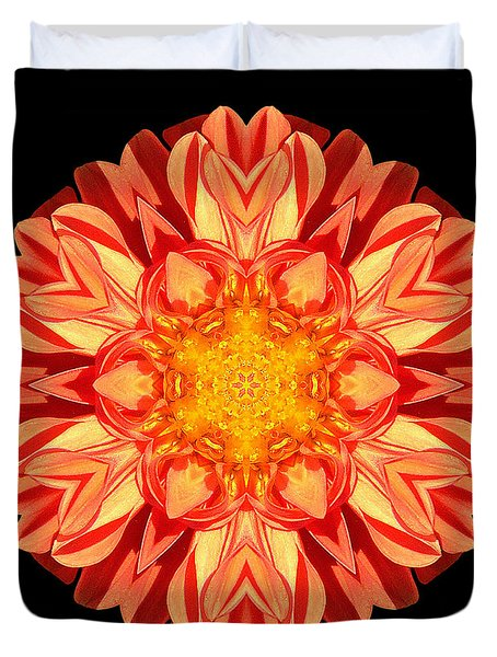 Orange Dahlia Flower Mandala Duvet Cover