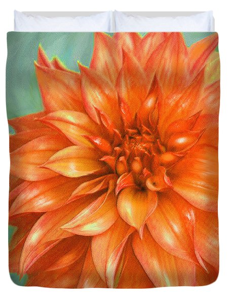 Duvet Cover featuring the digital art Orange Dahlia by Jane Schnetlage