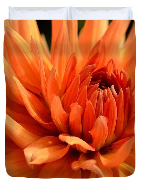 Orange Dahlia Duvet Cover by Scott Lyons