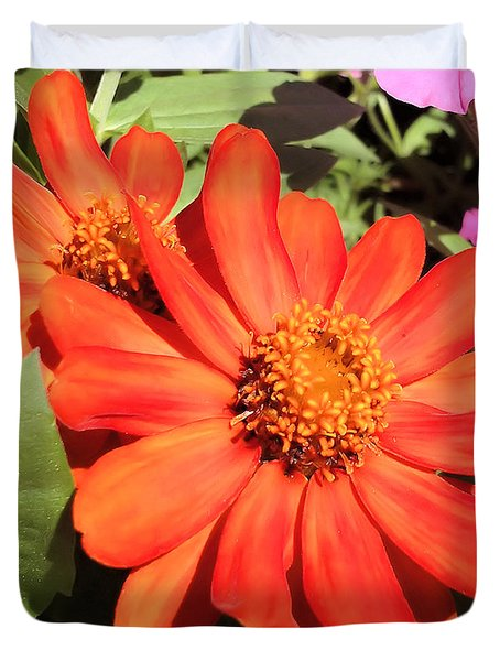Orange Daisy In Summer Duvet Cover by Luther Fine Art