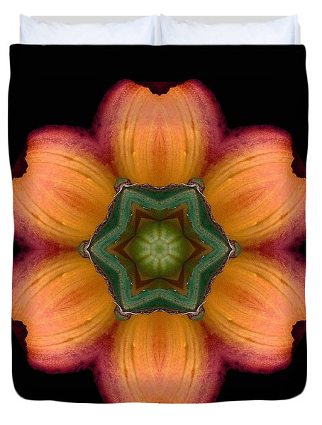 Orange Daylily Flower Mandala Duvet Cover