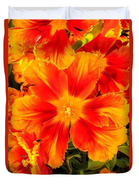Orange Flames Duvet Cover by Pat Cook