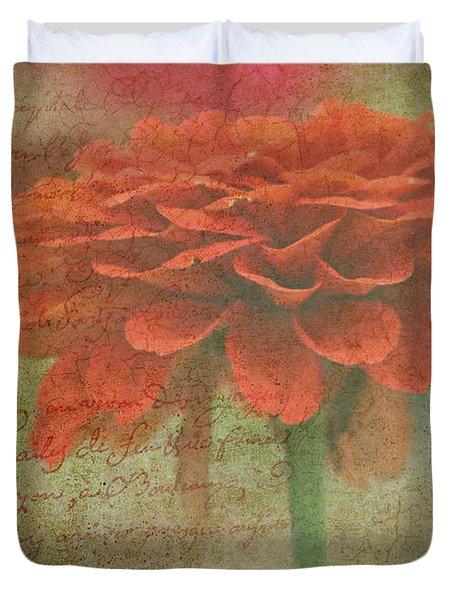 Orange Floral Fantasy Duvet Cover by Kay Novy