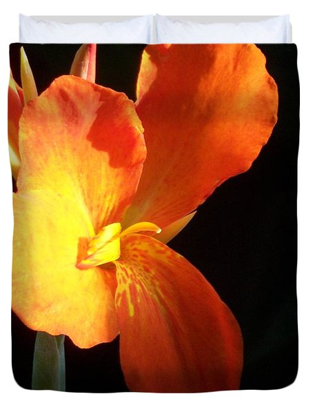 Orange Flower Canna Duvet Cover by Eric  Schiabor
