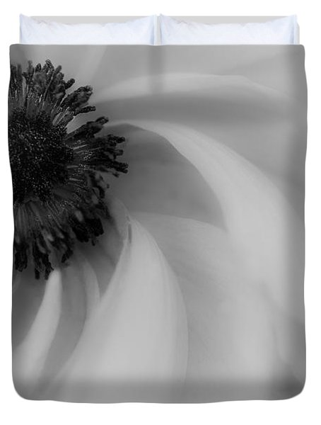 Orange Flower In Black And White Duvet Cover